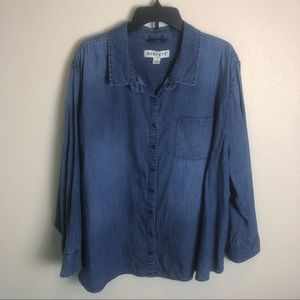 Ava & Viv Chambray Button Down Shirt 4X